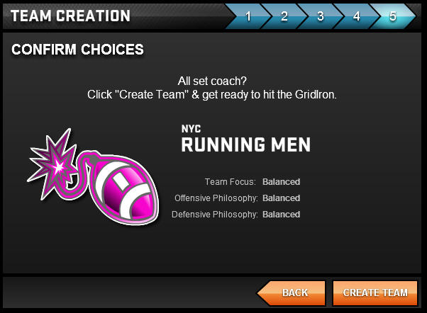 GridIron Live Team Creation