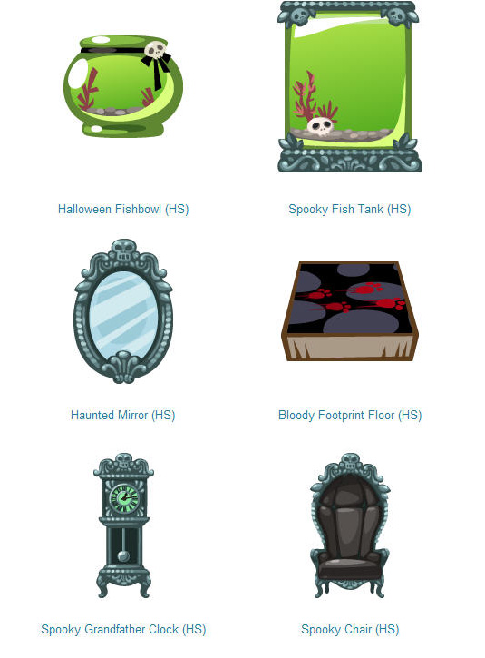 pet society halloween fish bowls and spook furniture