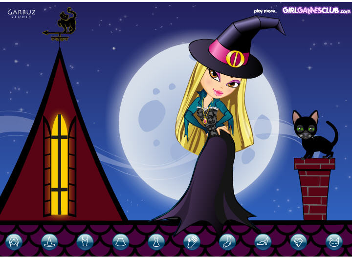 click to see all six halloween dress up games young witch
