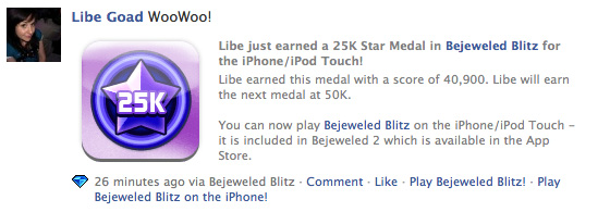 bejeweled blits for iphone integrates seemlessly with the facebook version of the game