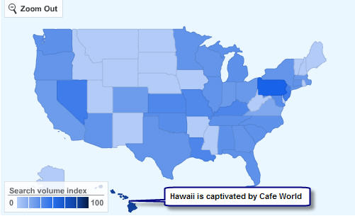 Cafe World on Facebook is most searched for in Hawaii