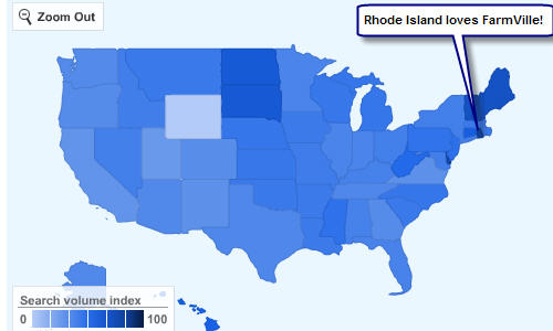 FarmVille on Facebook. Is searched for most in Rhode Island