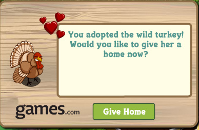 farmville wild turkey adopted
