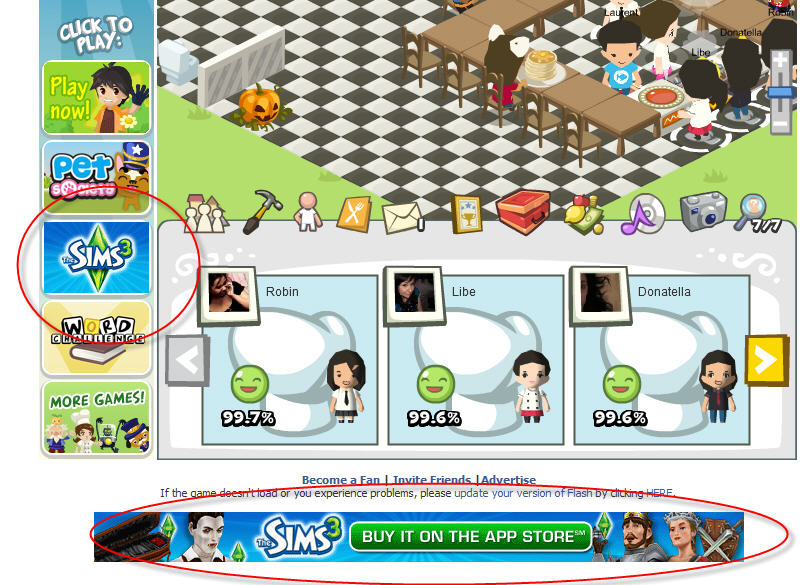 The Sims ads show up in Playfish Restaurant City, Pet Society