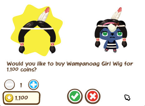 pet society wampanoag girl wig