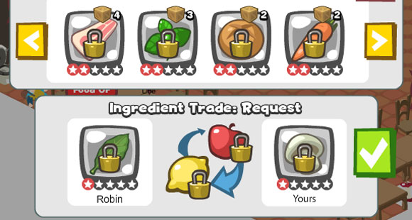 Trade ingredients with friends in restaurant city