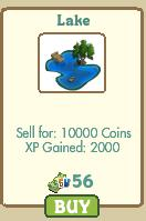 farmville lake costs 10000 coins