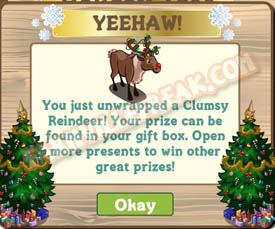 farmville clumsy reindeer unwrapped