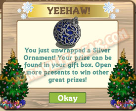 farmville silver ornament unwrapped