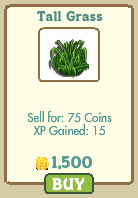 farmville tall gras for 1500 coins