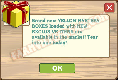 Farmville yellow mystery box announcement