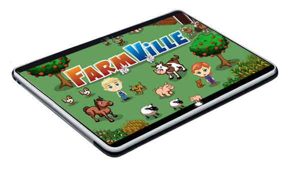 farmville on the apple tablet, not yet, but others might be coming soon