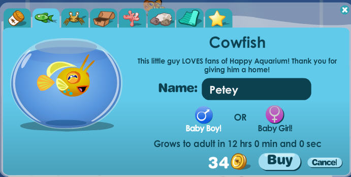 happy aquarium cow fish for Facebook fans only