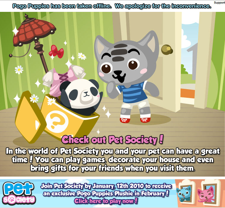pogo puppies retired, replaced with pet society promotion