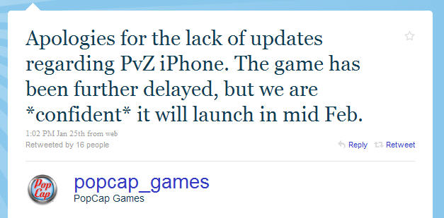 Plants vs Zombies for iPhone delayed -- coming in Feb