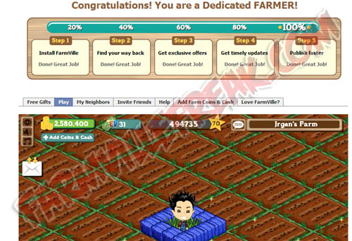 FarmVille Dedicated Farmer Status Bar