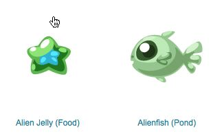 pet society alienfish and alien jelly