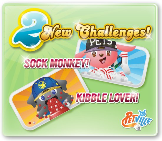 petville challenges sock monkey and kibble lover