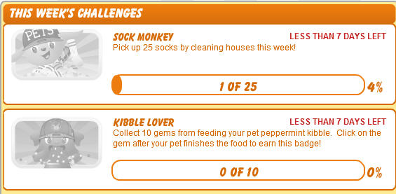 petville sock monkey and kibble lover challenges