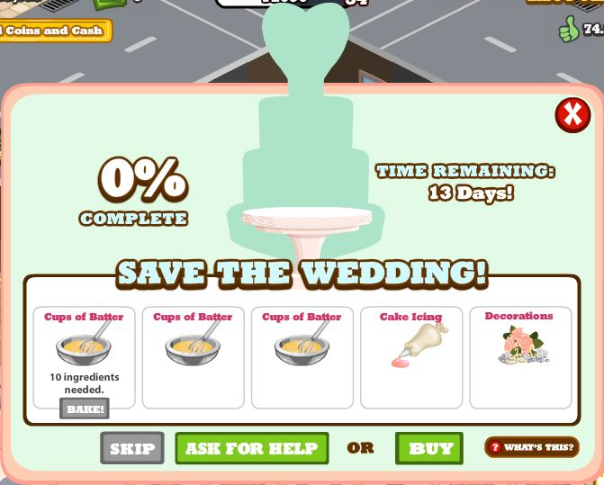 cafe world save the wedding mini-game