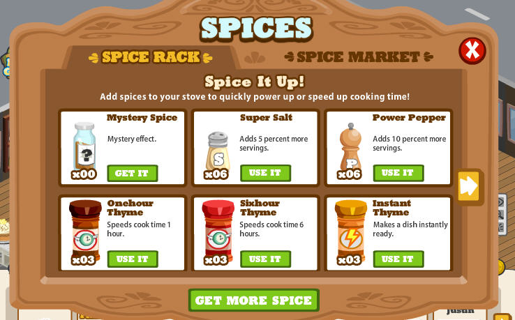 cafe world spice market