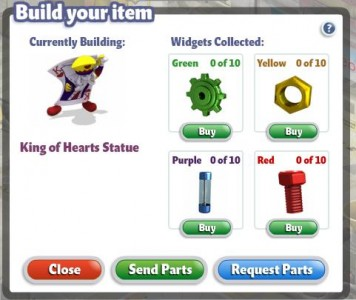 YoVille Request Items at Widgets