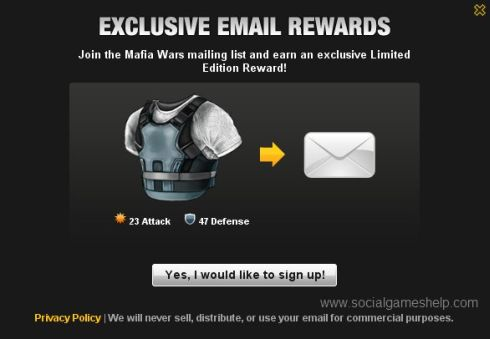 Mafia Wars Email Exclusive Item