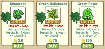 FarmVille St. Patrick's Day crops