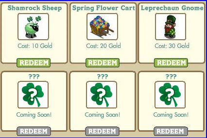 farmville pot of gold redeemable prizes