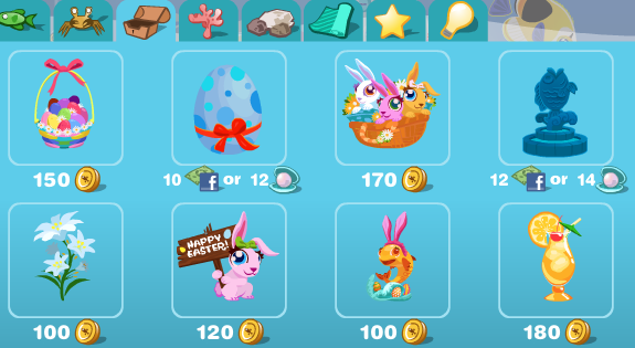 Easter items in Happy Aquarium