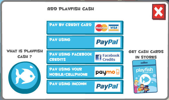 playfish cash buy it using real-life cash