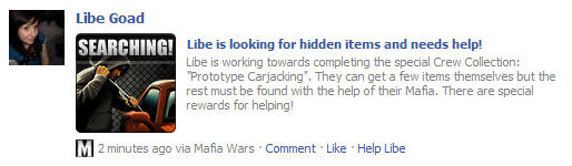 mafia wars crew collections facebook wall help