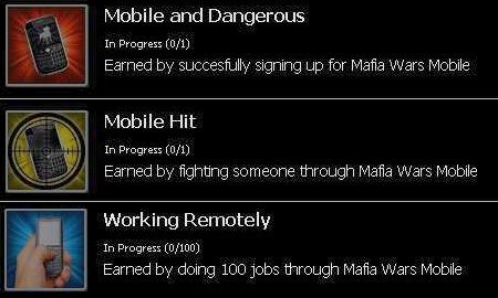 Mafia Wars Mobile Acheivements