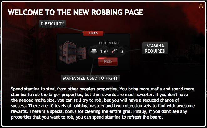 mafia wars robbing returns