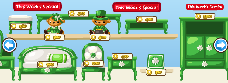 St. Patrick's Day in the Pet Society Furniture Store