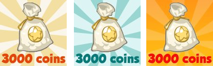 Restaurant City offers 3 bags of 3000 coins.