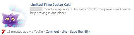 Limted Time YoVille Jester Cat wall feed on Facebook