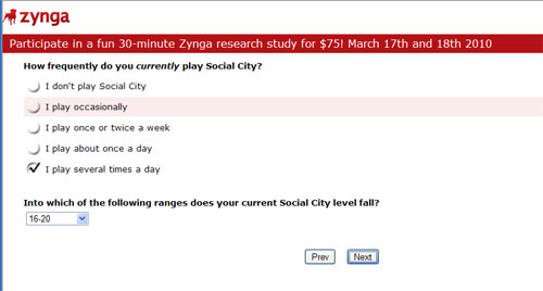 zynga survey about social city