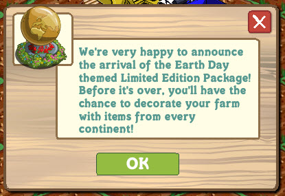 FarmVille Earth Day announcement