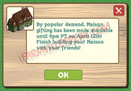 Farmville Maison Back by Popular Demand Notice