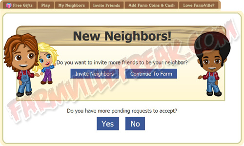 FarmVille Freak Umm's New Neighbor Gift Notice