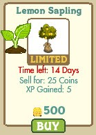 farmville lemon sapling