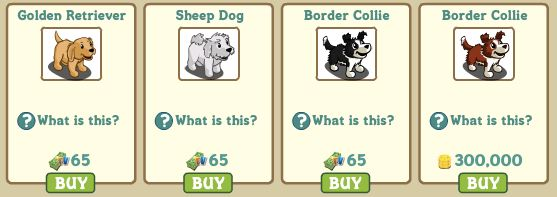 farmville dogs in-game market