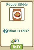 puppy kibble 3 FarmVille dollars