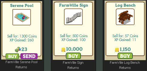 FarmVille Serene Pool, FarmVille Sign, and Log Bench