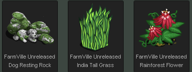 FarmVille Dog Resting Rock, India Tall Grass, and Unreleased Rainforest Flower
