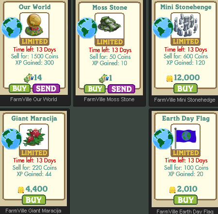 FarmVille Earth Day Our World, Moss Stone, Mini Stonehenge, Giant Maracija, Earth Day Flag