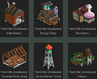 FarmVille India Bakery, Energy Shop, Perfumery, Covered Picnic Area, Seven Eleven Tower, and Winery