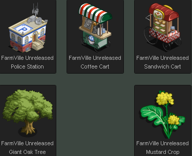 FarmVille Unreleased Police Station, Coffee Cart, Sandwich Cart, Giant Oak Tree, and Mustard Crop