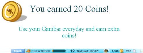 Using the Happy Aquarium Gamebar earns you coins
